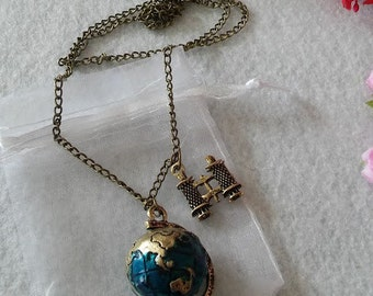 Vintage Planet Earth Globe Necklace