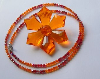 west germany orange brooch and crystal necklace