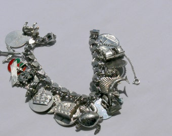 sterling charm bracelet loaded with charms