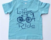 """Blue Toddler Bicycle T-shirt -""""Life's A Ride""""-Bike T-shirt-Kids gift for cyclists"""