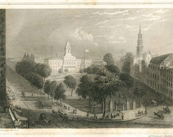 1856 New York City Hall Antique Print,  Engraving, Black and White
