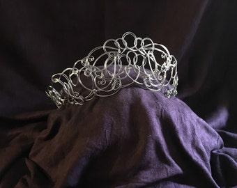 Bridal Silver Crown | Silver Bridal Tiara | Bridal Hair Crown | Silver Wedding Tiara | Headpiece | Medieval Crown | Renaissance Crown