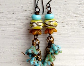 Sunshine Gardenia - handmade colourful blue + yellow bohemian dangle earrings, floral art bead earrings - Songbead UK, narrative art jewelry