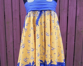 Upcycled BOHO Gypsy Dress-Yellow & Blue Altered Festival Clothing-Vintage Tablecloth Dress-Junk Gypsy Clothing-Size Small/Medium