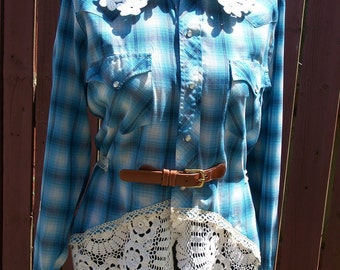Blue Plaid Vintage Cowgirl Blouse - Junk Gypsy - Rodeo - Altered Upcycled Clothing - Steampunk - Medium