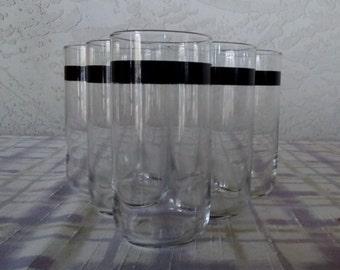 Vintage MCM Libbey Silver Trim Glassware Set, Water Tumblers/Cocktail Glasses, Mad Men Style Glassware, Barware