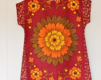 Upcycled Vintage Linen Tea Towel Tunic Dress XS Petite Womens Retro Flower Print Floral Maroon Orange Mini Mod