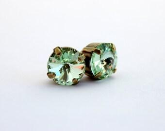 Chrysolite earrings, Green Swarovski earrings,  light mint earrings, pale green earrings, spring wedding, Chrysolite stud earrings, post