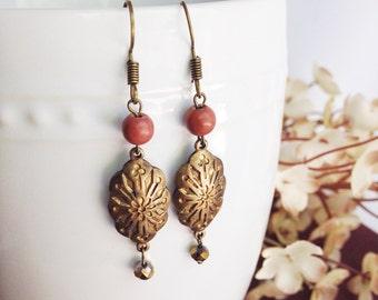 boho earrings, bohemian earrings, vintage brass charms, turquoise earrings, fossil coral, boho chic earrings, delicate, pretty earrings