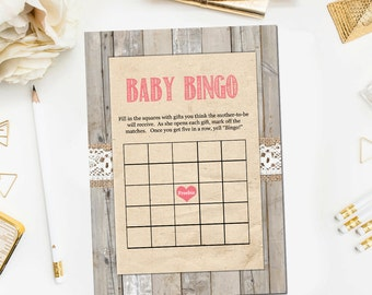 Rustic Baby Shower Bingo Game, Baby Bingo Baby Shower Games Rustic Pink Baby Girl Shower Game Print Instant Download JPD334