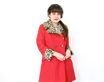Vintage Coat . Bright Red and Faux Leopard Print Winter Jacket . Size Medium