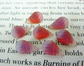 6 glass jewels, 13x8mm, opal white pink, pear