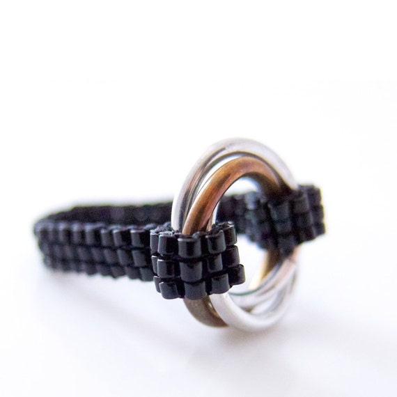 Infinity Ring, Silver Infinity Ring, Silver Chainmail Ring, Chainmaille Ring, Beaded Ring, Black Ring, Promise Ring