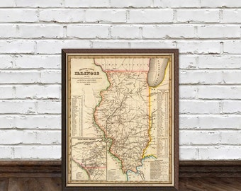 Old map of Illinois - Fine reproduction - Illinois map