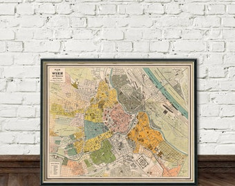Wien Karte - Old map of Vienna - Fine giclle print - Vienna map