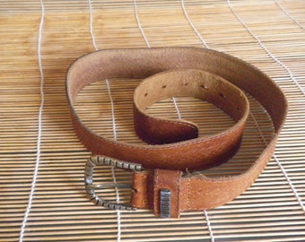 "Vintage Brown Leather Belt Fits from 30"" to 34"" waist"