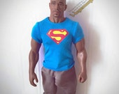 1/6th scale XXL blue Superman T-shirt for: Hot Toys TTM 20 size bigger action figures and male fashion dolls