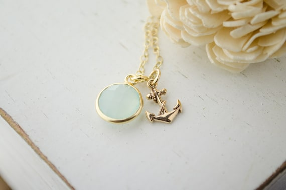 Gold Anchor Necklace | Aqua Mint Chalcedony | Sea Foam Green Wedding | Everyday Nautical | Golden Anchor Jewelry | Charms