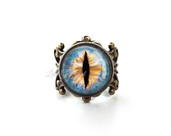 Evil Eye Jewelry - Eyeball Ring - Blue Glass Eye Ring - Gothic Cat Eye Jewelry - Vintage Brass or Silver Filigree Adjustable Ring (E13)