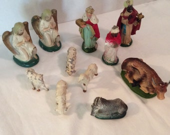 Vintage 11 Piece Figurine Nativity Set made in Italy Holiday Christmas