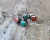 Turquoise and Coral RING / Adjustable Ring / Southwest Jewelry / Vintage Sterling Silver Quadruple Stone Ring