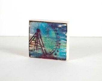 Art Block, Ferris Wheel, Art Blocks, Wood Printing, Wood Block Art, Distressed Art, Carnival, Small Art
