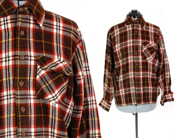 "Vintage Plaid Flannel ""Woodland"" Longsleeve Button Up Small"