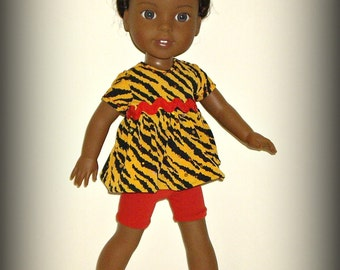 "SALE - Animal Print Doll Clothes by traveller240, Baby Doll Top and Shorts, Handmade to fit 14.5"" Doll such as Wellie Wishers"