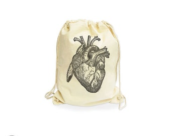 Human vintage anatomy heart organic gymsack-anatomical heart gym sack-heart gym sack-cotton gymsack-heart backpack-by NATURA PICTA NGS010