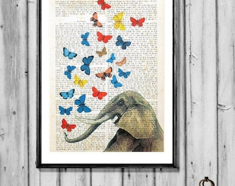 Elephant in love Elephant butterflies  Elephant art print poster Elephant wall decor Elephant Music animal dictionary art