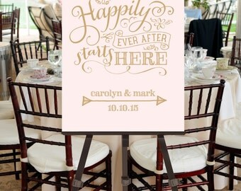 Wedding Welcome Sign Illustrative Happily Ever After -- Custom Printable File -- Calligraphy Script, Blush Pink and Gold