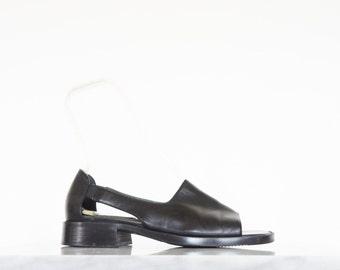 90s Black Leather Cut Out Sandals / Women's Shoes Size 8.5 US - 39 Eur - 6.5 UK