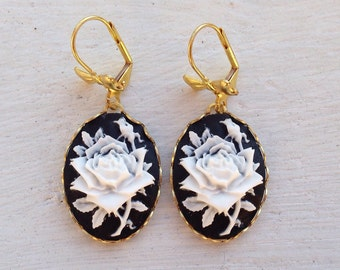Rose Earrings/Black Earrings/Flower Earrings/White Flower Earrings/Black and White Earrings/Cameo Earrings/Bow Earrings/Mother's Day Gifts