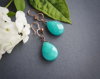 big turquoise drop earrings, elegant minimalist copper earrings, rustic style, gift for her, summer jewelry, colorful, wedding guest jewelry