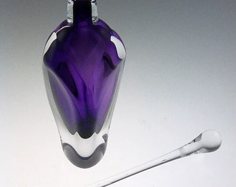 Hand Blown Glass Perfume Bottle - Purple Amethyst Overlay  by Jonathan Winfisky