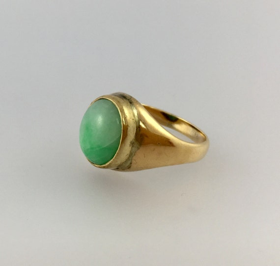 Green Jade 14k Yellow Gold Ring