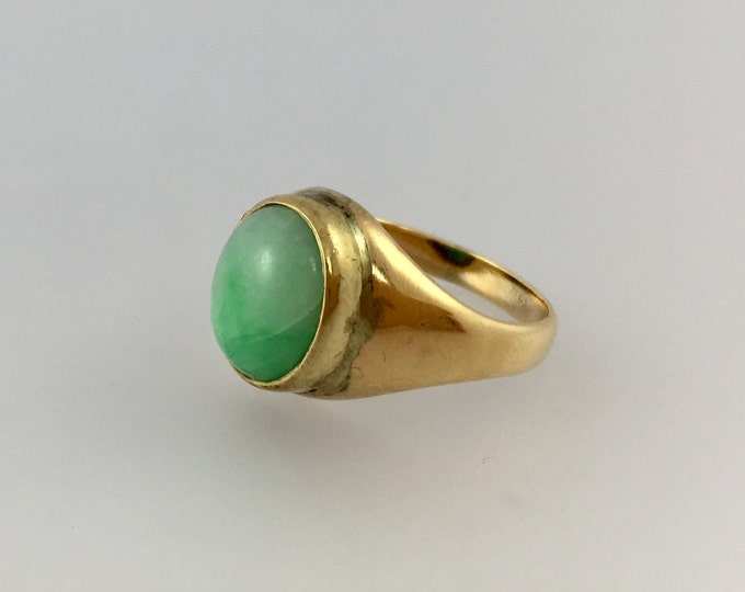 Featured listing image: Green Jade 14k Yellow Gold Ring