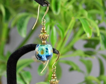 Blue boro glass lampwork nugget earrings with antique brass findings, brass earrings, lampwork earrings, SRAJD, lovely