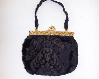 Vintage 1920s handbag bag with floral deep carved celluloid frame and purple velvet Flapper