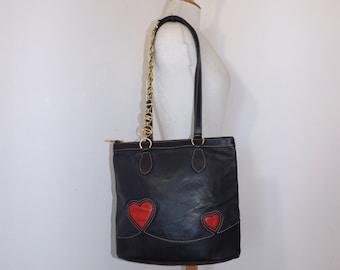 Vintage Moschino Redwall navy blue leather shoulder handbag designer tote bag red love heart detail