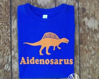 Boys dinosaur shirt, Spinosaurus dinosaur shirt, Personalized dinosaur birthday t shirts,