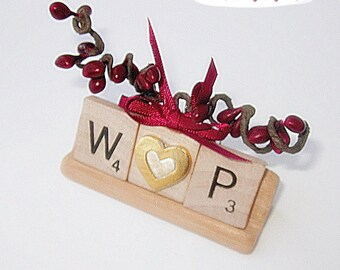 Couples Initial Scrabble Ornament , Personalized Ornament, Couples Ornament, Package Tie-On , Stocking Stuffer