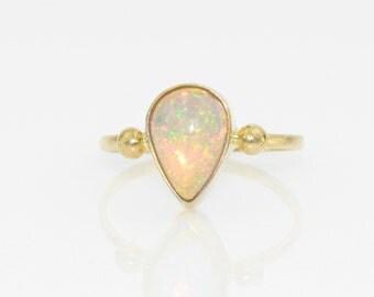 Welo Opal 2 Dot Ring in 14K Gold Ethiopian Crystal Opal Tear Drop Gold Ring Fine Handmade Jewelry Opal Jewelry