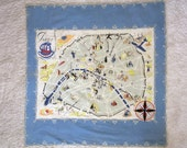 RARE Vintage 1930s Antique PARIS France Scarf Met Museum Worthy  30s Art Deco Map Cotton Signed Willie Landell for JC. D'Ahetze 250 Rivoli