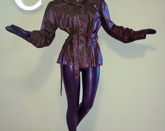 Vintage 70s 80s Genuine Leather Jacket Burgundy Maroon Deep Dark Cranberry 1970s 1980s Belted Hippie Boho Shortie Coat by Wilson's Med Large