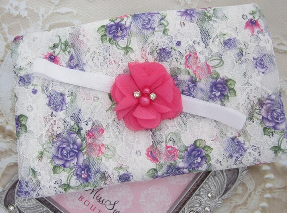 Purple and Hot Pink Stretch Lace Swaddle Wrap AND/OR Pink Flower Headband for newborn photo shoots, lace wrap by Lil Miss Sweet Pea