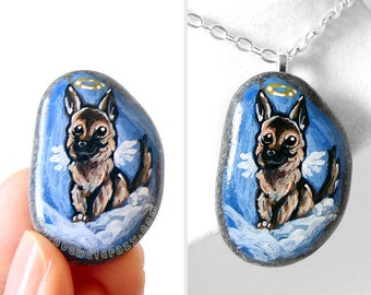 Pet Portrait Painting, Dog Necklace, German Shepherd Angel Pendant, Memorial Jewelry, Sympathy Gift, Hand Painted Rock Art, Family Keepsake
