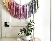 Mini Wanderlust Garland. Torn Fabric Garland. Girl's Room Decor. Baby Shower Banner. Garland Backdrop. Window Treatment. Fabric Banner.