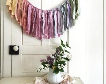 Mini Wanderlust Garland. Torn Fabric Garland. Girl's Room Decor. Baby Shower Banner. Garland Backdrop. Natural Wedding Decor. Fabric Banner.