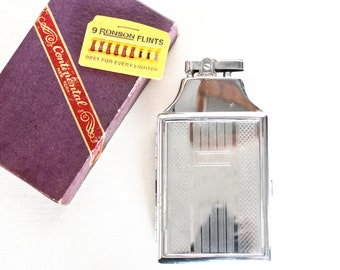 VTG Continental NY Aluminum Metal 2-In-One Lighter/Cigarette Case w/ Ronson Flints